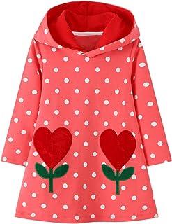 JinBei Sweats à Capuche Fille Enfant Robe Sweat-Shirt Pull à Capuche Manches Longues Coton Fantaisie Sweatshirt Hoodie Rob...