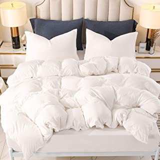 PURE ERA Jersey Knit Duvet Cover Set 100% T-Shirt Heather Cotton Super Soft Comfy, Off White Queen, with Zipper Closure (3pc Bedding Set, 1 Comforter Cover + 2 Pillow Shams)