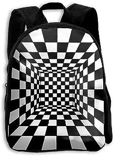 Trippy Checkerboard Room School Backpack Children Bookbag for Kids