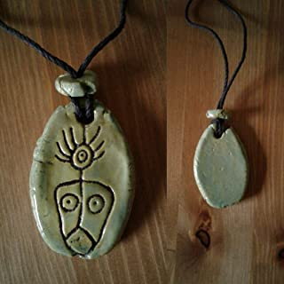 Taino Shaman Necklace Ceramic Sea Green Petroglyph Symbol Caribbean Arawak