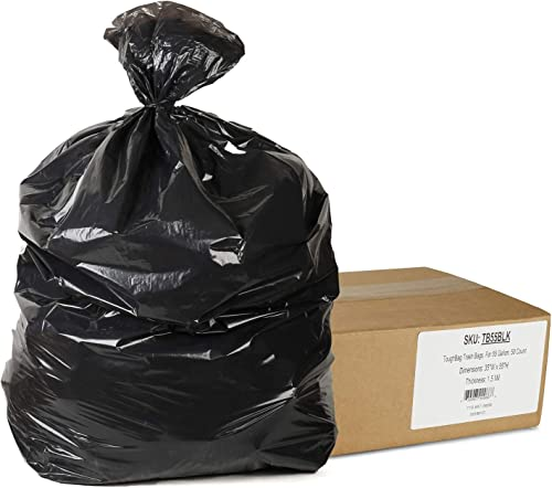 """2021 ToughBag 55 outlet sale Gallon Trash Bags, 35 x 55"""" Large Industrial Black Trash Bags (50 COUNT) - 55-Gallon Outdoor Garbage Bags for Commercial, Janitorial, Lawn, 2021 Leaf, and Contractors - Made in USA online sale"""