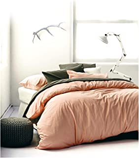 Eikei Washed Cotton Chambray Duvet Cover Solid Color Casual Modern Style Bedding Set..