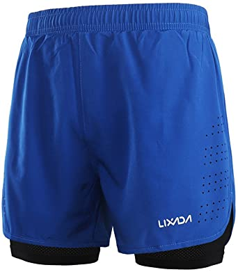 Lixada 2-in-1 Running Shorts for Men Quick-Drying Breathable Active Training Exercise Jogging Cycling Shorts with Longer Inner Shoe