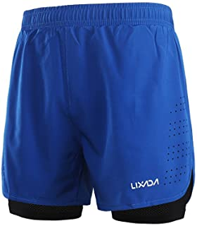 Lixada Men's 2-in-1 Running Shorts Quick Drying Breathable Active Training Exercise Jogging Cycling Shorts