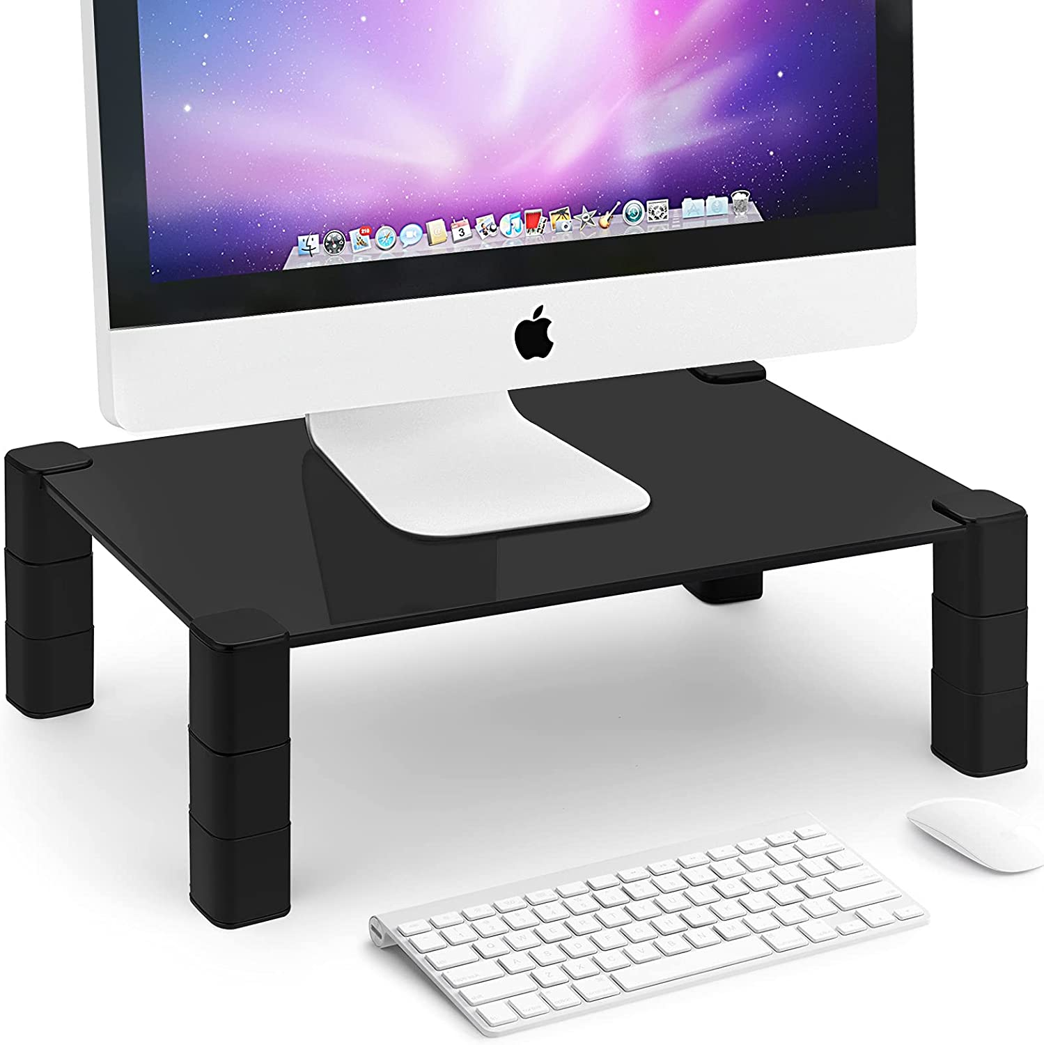 WENHAO Monitor Stand Riser, 3 Height Adjustable Computer Monitor Riser Tempered Glass Laptop Desk Stand, TV Riser, PC Tower Stand for Home Office