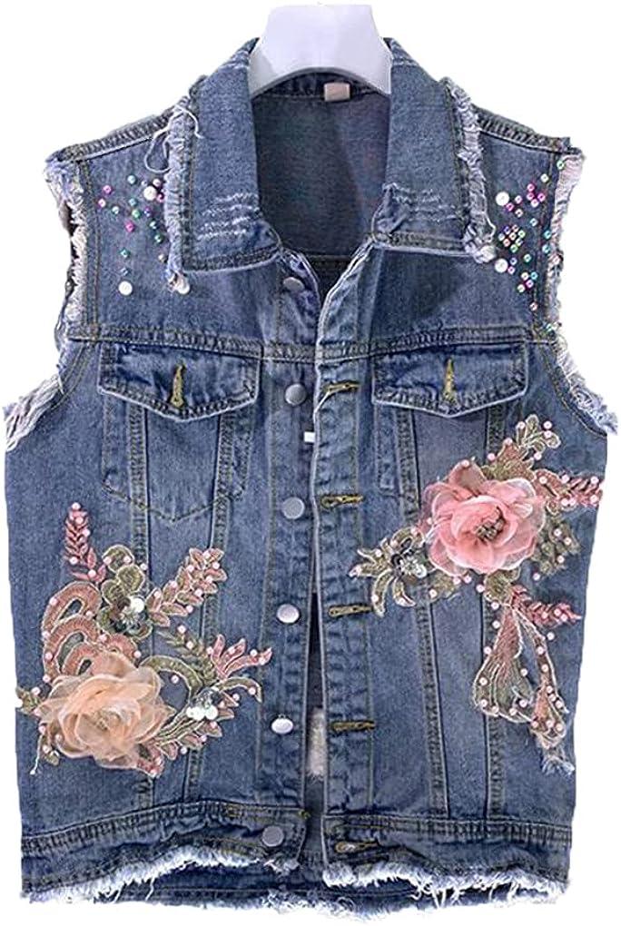 Spring Summer Women Denim Vest Jacket Heavy Industry Beaded Flowers Hole Sleeveless Jeans Waistcoat Female Tops Coat