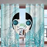Hiiiman - Panel de cortina para exteriores con aislamiento térmico con ojales en la parte superior de DJ colorido para toldo/pérgola/patio privacidad
