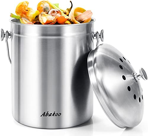 Abakoo Stainless Steel Compost Bin - 1.3 Gallon Premium Rust-Resistant Grade 304 Stainless Steel Kitchen Composter - ...