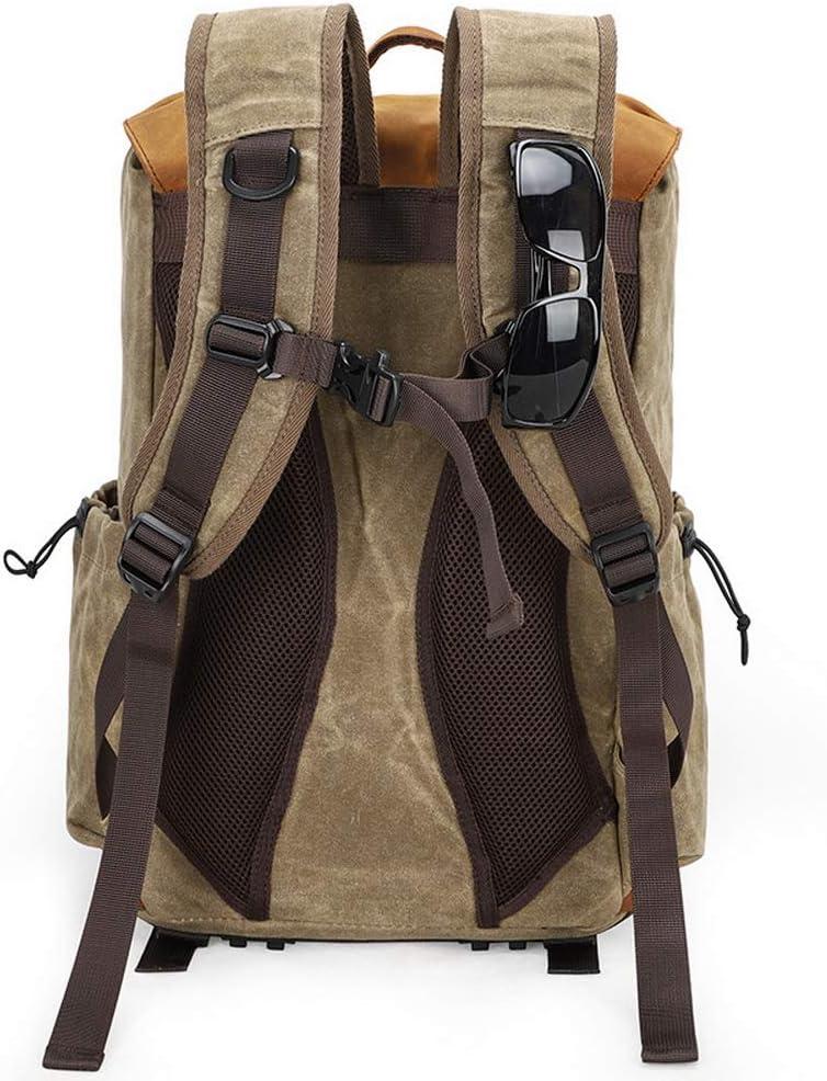 Multifunction Unisex Batik Canvas Leather Camera Backpack with Model Number 3102 Khaki