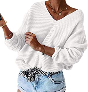 Womens V Neck Warm Long Sleeve Pullover Knitted Loose Jumper Tops Sweater
