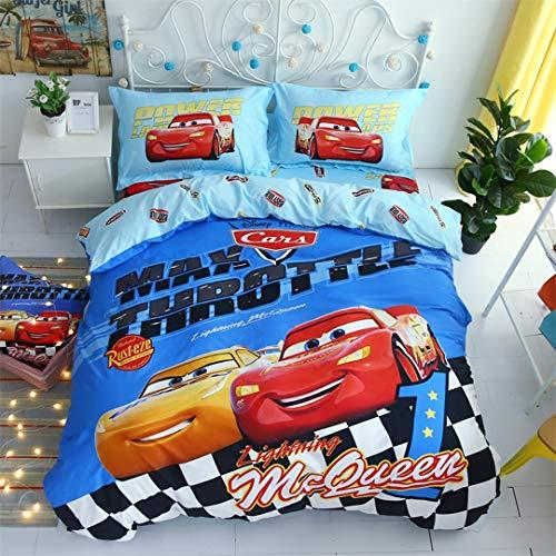Casa 100% Cotton Kids Bedding Set Boys Lightning McQueen and Cruze Ramirez Blue Duvet Cover and Pillow Cases and Flat Sheet,4 Pieces,Queen