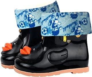 Junshion, Botas de Lluvia Impermeables de Goma para niños Patrones de Pato Easy Wear On, Seguro y Simple para Regalo de niños