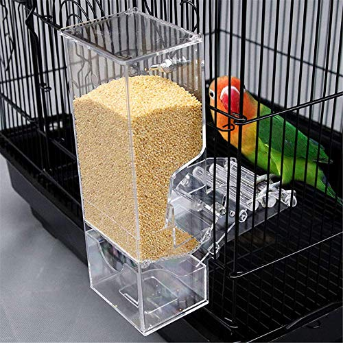 Qukueoy No Split Bird Seed Feeder for Cage,Parrot Automatic Foraging Systems Food Feeding Station with Perch,Heavty Acrylic,One-Step Moulding