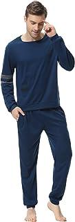 comprar comparacion Aibrou Clásico Pijamas Hombre Invierno Algodon Mangas Pantalones Largos Set, Suave,Cómodo