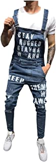 Iyyvv Mens Pocket Jeans Overall Jumpsuit Streetwear Overall Bib