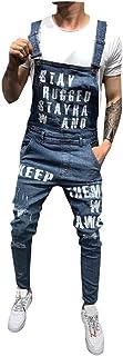 iYYVV Mens Pocket Jeans Overall Jumpsuit Streetwear Overall Bib Slim Fit Denim Pants