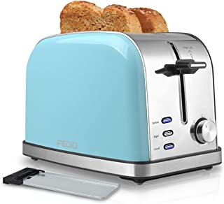 Toaster 2 Slice Toasters Best Rated Prime Extra Wide Slot Toaster with 7 Bread Shade Settings Bagel, Cancel, Defrost Function Removable Crumb Tray Stainless Steel Toaster Blue
