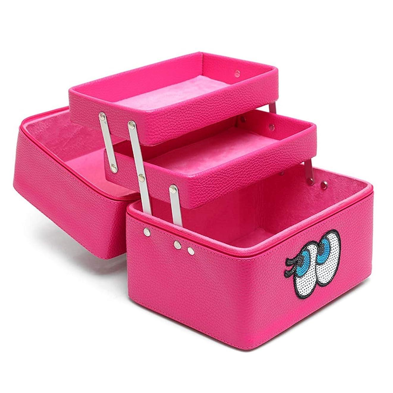 摘むやさしく無効にするメイクボックス 化粧品収納ボックス 多層 コスメボックス メイクケース スキンケア用品入れ 中身 コスメ収納 取っ手付き 持ち運び 防水 ファスナー 可愛い 防塵 鏡付き 機能的 プロ 化粧BOX