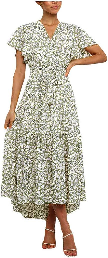 PLENTOP Women's Summer Boho Floral Print Square Neck Ruffle Swing Beach Long Maxi Dress