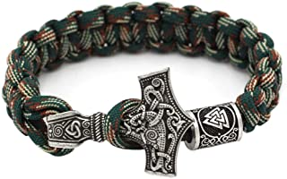 Mjolnir Norse Viking Thor's Hammer Paracord Bracelet with Valknut Pagan Amulet Vegvisir Compass Beads Knot Amulet Scandinavian Bracelet