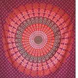 MOMOMUS Tapiz Mandala Hippie - 100% Algodón, Grande, Multiuso - Tapices de Pared Decorativos Ideales para la Decoración del Hogar, Habitación o Salón - Rojo B, 210x230 cm