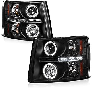 VIPMOTOZ LED Strip DRL Halo Ring Black Housing Projector Headlight Headlamp Assembly For 2007-2013 Chevy Silverado 1500 2500HD 3500HD Pickup Truck, Driver & Passenger Side