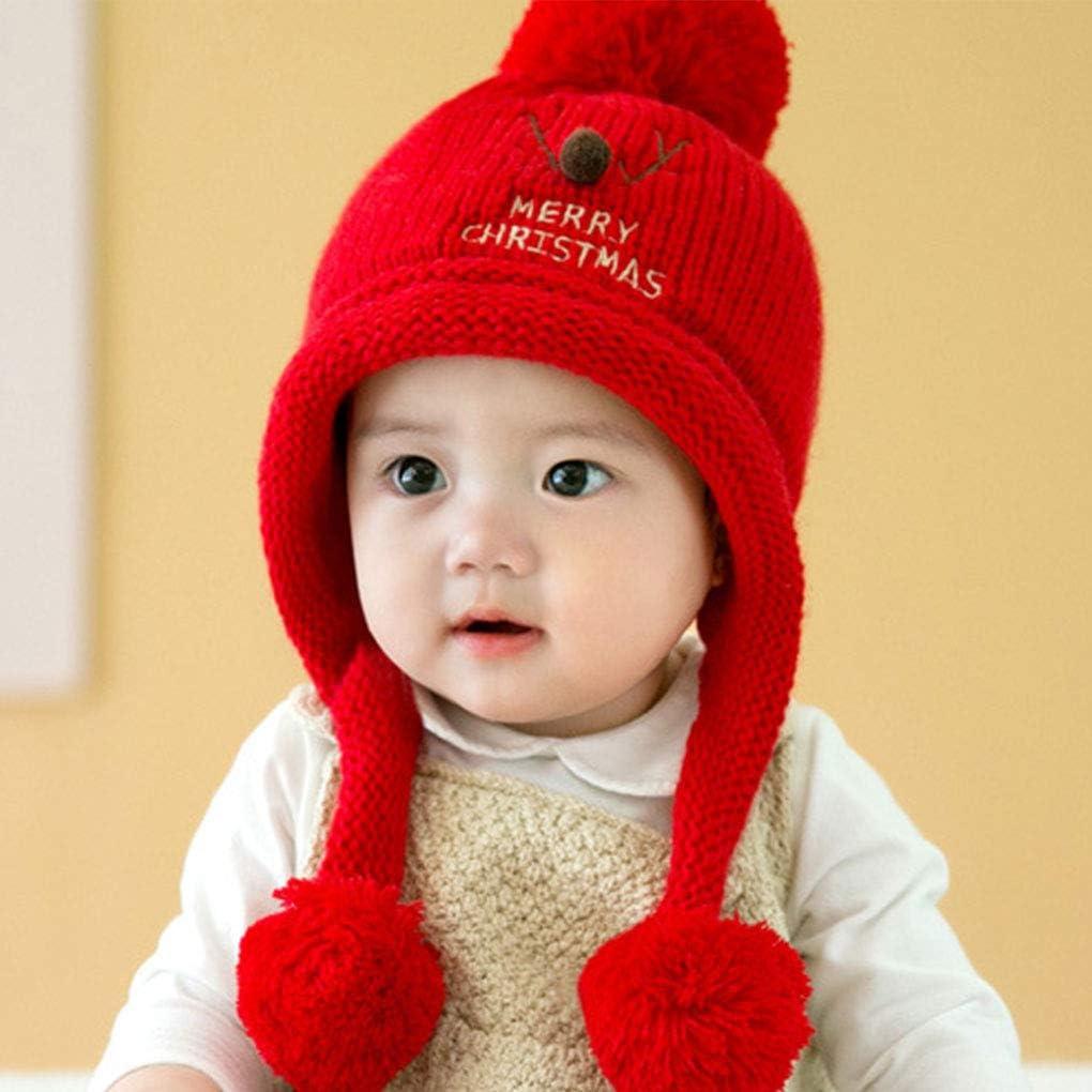 Qimao El beb/é reci/én Nacido de Doble Bola Colgante Pomp/ón Sombrero Caliente de la Gorrita Tejida Ciervos de la Navidad del ni/ño de Punto Interior de Terciopelo Invierno