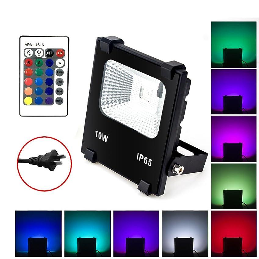 規範自宅でコインLED投光器 RGB 10W フラッドライト 16色 4モード ガーデンライト リモコン付き 防水仕様IP65 (ホリデー照明ライト、風景ランプ、ステージランプ)