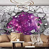 Wall Stickers Murals 3D trap Dark cracked broken hole in concrete wall Broken Old Red Wall Self-Adhesive Wallpaper ,96x76 inches/245x193 cm,For Office Nursery School Family Decor Playroom Birthday Gif
