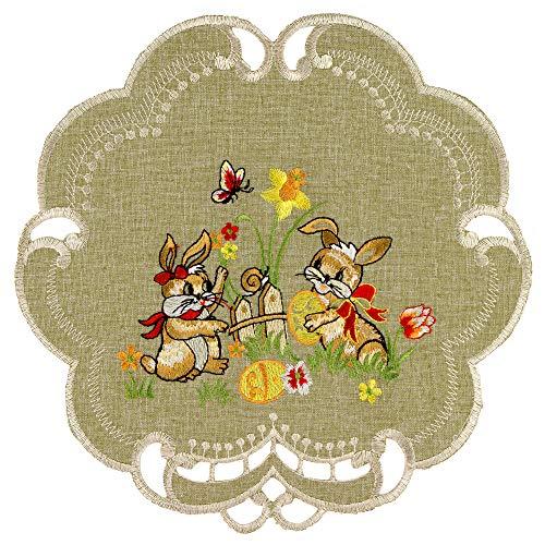 Espamira Tischdecke Ostern Antikgrün Mitteldecke Decke Osterdecke Pflegeleicht Polyester (Deckchen 30 cm rund)