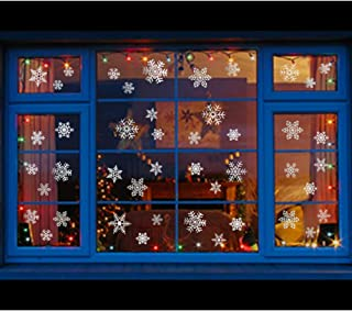 Uimiqc Glitter Snowflake Window Clings 114 pcs Reusable Sparkly Static Window Clings for Christmas Holiday Winter Window Decorations Multi-Size (Silver, 114 pcs)