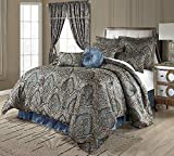 9 Piece Medallion Comforter Set King, Jacquard Woven Fabric Paisley Floral Oversized Traditional Decorative Warm Cozy Bedskirt Included