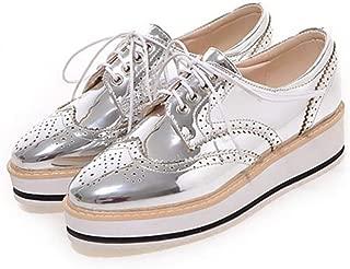 Women's Fashion Platform Brogues Oxfords Patent Leather Casual Lace Up Vintage Wingtip Dress Shoes