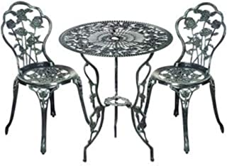 Cypress Shop Outdoor Bistro Table Chairs Set Patio Garden Furniture Set Cast Aluminum High Back Chair Armless Backrest Seating Chairs Antique Rose Style Lawn Deck Porch Yard Backyard Patio Set of 3