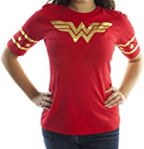 Bioworld Wonder Woman Gold Foil Striped Sleeves Red Juniors T-Shirt Tee