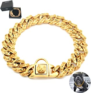 Huitao Gold Dog Chain Collar, Stainless Steel Training Collar, Heavy Duty Cuban Link Gold Plated Large Pet Dogs Necklace Choke for Bully Pitbull, Mastiff, Big Breeds