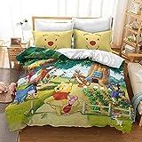 ZZALL - Juego de cama infantil 3D de Disney Winnie The Pooh Winnie The Pooh (funda nórdica y funda de almohada de 100% microfibra, funda de almohada de 80 x 80 cm (A17,260 x 220 + 50 x 75 x 2)