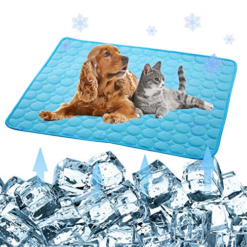 Pet Products Cool Mat-Dog Cooling Mat Summer Pet Cooling Pads, Ice Silk Cooling Mat for Dogs & Cats, Portable & Washable Pet Cooling Blanket for Kennel/Sofa/Bed/Floor (DB:27.6x22inch, Dark Blue)