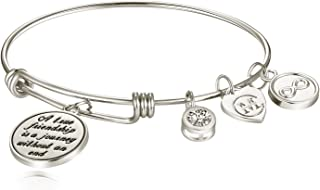A True Friendship is a Journey Without an end Womens Charm Bangle Bracelet Jewelry Gifts