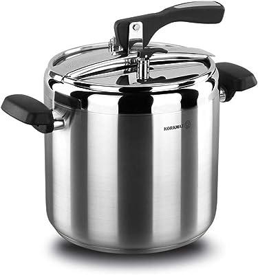 Korkmaz Turbo - Olla a presión de 9,5 cuartos de galón de acero inoxidable compatible con inducción, olla lenta manual, olla de arroz, vaporera, salteadora, yogurt y calentador