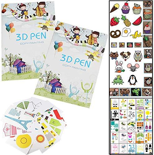 Fiyuer Carta Modelli Penna 3D 40 PCS 3D Pen Printing Paper Graffiti Template Accessori 40 Modelli Cartoni Animati Stampo Carta per Bambini Fai da Te