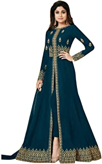 Cerulean Front Split Pant style Anarkali Designer Georgette Semi-stitched Salwar Suit Ethnic Indian women dress 7640