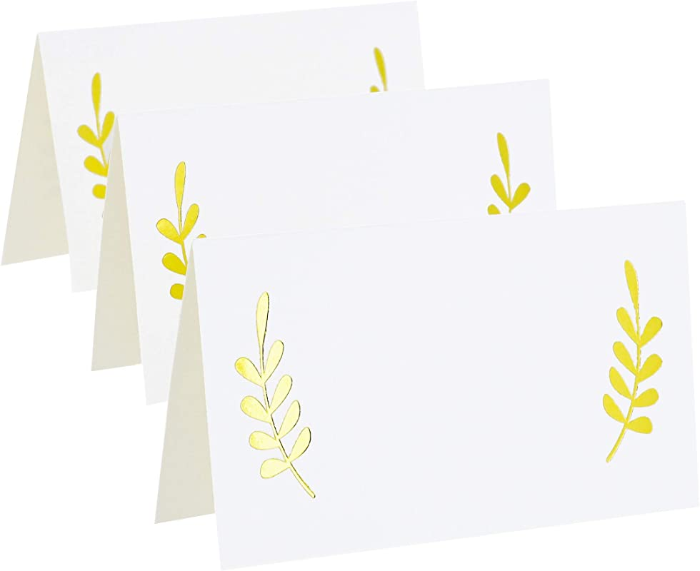 Best Paper Greetings 100 Count Gold Foil Table Place Cards Laurel Leaf Tent Cards For Wedding Bridal Shower And Dinner Parties 2 X 3 5 Inches