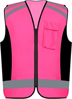 Safety Vest Reflective stripes Women outdoor utility Safety Hi-vis knitted Vest Bright Construction Vest for girl and women.PINK Meets ANSI/ISEA Standards (Small) (3XL)