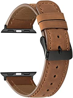 Replacement Bands for Apple Watch Series 4/3/2/1 42mm, 44mm, MyHarem Leather Wristband Strap Bracelet (Brown)