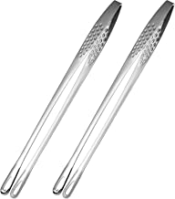 2 Pieces Stainless Steel Food Tongs Long Kitchen Cooking Tool Cooking and Grilling Salad Fish Thick Steak Tweezers Stainle...