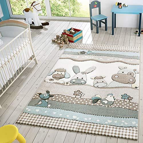 Kinder Teppich Moderner Spielteppich Bauernhof Tiere Pastell Töne In Beige Creme, Größe:140x200 cm