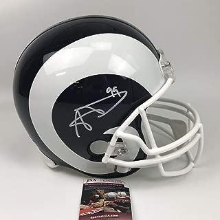 Autographed/Signed Aaron Donald Los Angeles Rams Full Size FS F/S Replica Football Helmet JSA COA