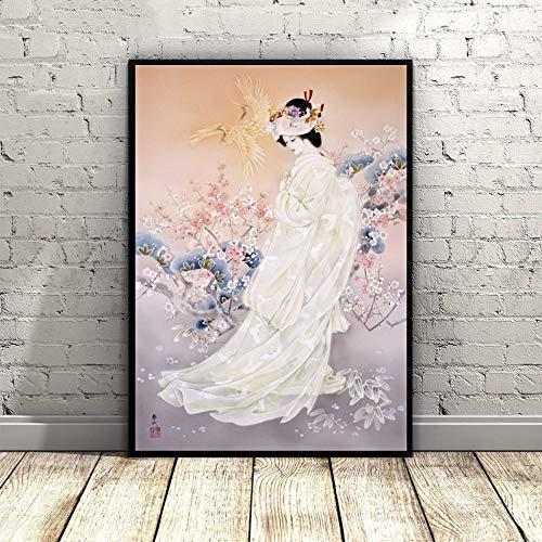 Impression Sur Toile,Geisha Dans La Gaze Légère,La Peinture Traditionnelle Asiatique Japonais L'Art De Mur Des Affiches Murales Photo Artwork,Modulaire Accueil Cuisine Chambre Bureau Décoration Ve