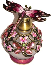 Welforth Jeweled Pink Dragonfly & Flower Enamel Round Crystal Perfume Bottle